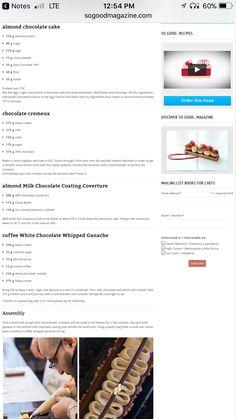 Pastry Recipes, Gourmet Recipes, Sweet Recipes, Cooking Recipes, Gourmet Desserts, Plated Desserts, Dessert Recipes, Almond Chocolate, Chocolate Mousse Cake