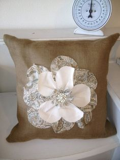 Burlap+Flower+Pillow | Burlap Pillow cover with appliqued flower and by ... | Living Room