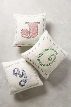 """Anthropologie EU Embroidered Monogram Cushion """" J """" :)) Monogram Pillows, Diy Pillows, Monogram Letters, Cushions, Blue Eggs, Personalized Bridesmaid Gifts, Decoration, Nursery Decor, Home Accessories"""