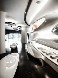 One of the most astonishing pieces of architecture designed by Zaha Hadid in London: the Roca Gallery, a showroom for the Spanish bathroom brand Roca.