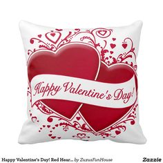 Happy Valentine's Day! Red Hearts Throw Pillows • Melissa from CA, Thank you for your purchase!   •   This design is available on t-shirts, hats, mugs, buttons, key chains and much more   •   Please check out our others designs at: www.zazzle.com/ZuzusFunHouse*