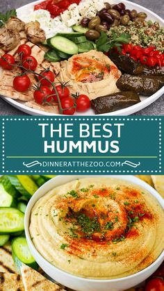 This hummus recipe is a smooth and creamy blend of chickpeas, tahini, lemon juice, garlic and seasonings. Homemade hummus so much better than store bought! Healthy Vegetable Recipes, Easy Healthy Recipes, Vegetarian Recipes, Cooking Recipes, Best Hummus Recipe, Homemade Hummus, Mediterranean Recipes, Appetizer Recipes, Dinner Recipes