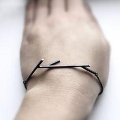 """Sticks 02. oxidized sterling silver twig bracelet"""