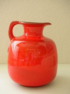 Red Orange Frankoma 833 Pitcher 1950's-Rare Flame Red Jug {TheBackOfTheBasement}