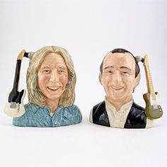 Royal Doulton Odd-size Character Jug, Francis Rossi and Rick Parfitt of Status Quo D6961 & D6962, Odd Size