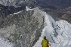 A climber on the Island Peak Summit Ridge.