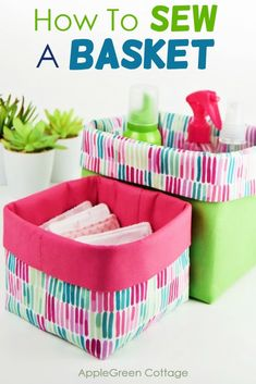 Small Sewing Projects, Sewing Projects For Beginners, Sewing Tutorials, Sewing Crafts, Fabric Crafts, Bag Tutorials, Sewing Tips, Fabric Storage Baskets, Sewing Baskets