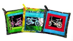Bike themed pot holders by Ruth Briggs