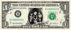 Kiss Band on REAL Dollar Bill - Collectible Celebrity Cash Money