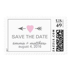 Modern Save the Date Wedding Pink Gray Postage