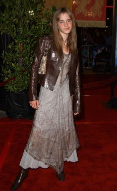 Emma Watson Leather Jacket -   Emma dons a crisp brown leather jacket over her maxi dress at the 'Harry Potter' premiere.