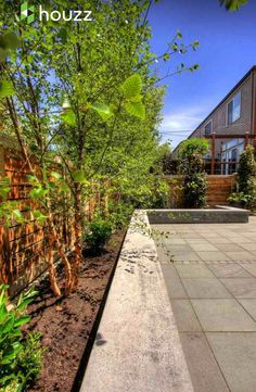 I LOVE LOVE LOVE this backyard. It's exactly what I want to do. Stamped concrete with a bench on the retaining wall. I will put fruit trees in the grow space.