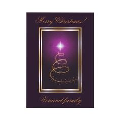 Abstract Christmas Tree on glowing purple flat card by zazzleproducts1 $1.50