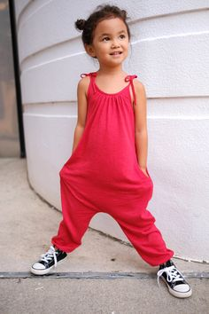 ROMPER Best Selling Jumper Jumpsuit HAREM Toddler, Girl's, Children, Organic Slub Cotton Jersey, Red, Handmade, 2T, 3T, 4T, 5Y, 6Y Cool Kids