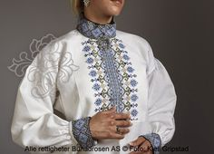 FolkCostume&Embroidery: East Telemark, Norway, embroidered shirts for Raudtrøye and Beltestakk Shirt Embroidery, Embroidered Shirts, Folk Costume, Costumes, Costume Ideas, Folk Clothing, Bridal Crown, Floral Tie, Norway