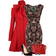 Red Coat... by kiffanyl on Polyvore featuring polyvore fashion style Mela Loves London Dorothy Perkins Christian Louboutin Givenchy