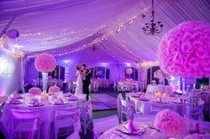 white and purple wedding reception - Google Search