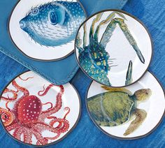 A colorful mix of deep-sea creatures plus unbreakable melamine blend coastal aesthetic with worry-free functionality. These sea critter salad plates are simply adorable!