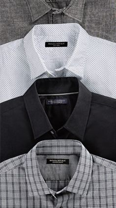 Black, white, and grey Banana Republic soft goods