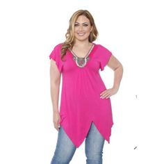 75513c9797c Fuchsia Short Sleeve Asymmetrical Hem Tunic V Neck Tops