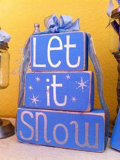 Christmas Snowflakes Home Decor - Set of 3 wooden block shelf sitters. $15.00, via Etsy.