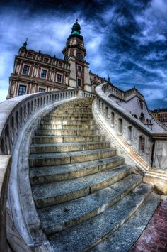 Stairs [HDR] by Daniel Rotkiewicz on 500px , Stairs to town hall in Zamosc, Poland. HDR work from 3 exp.