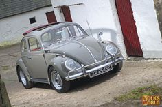 Nice grey ragtop with red interior from VolksWorld magazine.