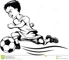 How+to+Draw+Soccer | Cartoon of a young man kicking a soccer ball.
