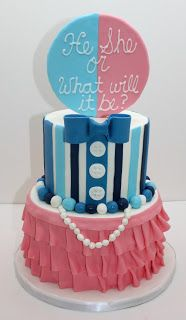 "Gender reveal cake! Not sure if I would use ""it"" though."