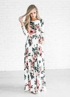 a4b0144b2986 Fashion Women Print Long Boho Beach Dress Summer Dress 2017 O-Neck Long  Sleeve Flower Maxi Dress Vestidos White Dress Women