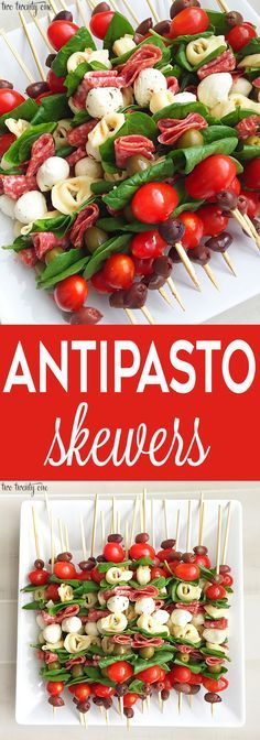 Antipasto Skewers Antipasto skewers = easiest appetizer EVER. Currently I& Skewers Antipasto skewers: easy to make and perfect for any occasion. These antipasto skewers are excellent appetizers for parties, picnics, and more!Eat Stop Eat To Loss Weight - Skewer Recipes, Appetizer Recipes, Appetizer Skewers, Fruit Skewers, Appetizer Ideas, Party Food On Skewers, Shrimp Recipes, Dessert Skewers, Toothpick Appetizers