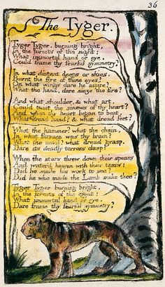 William Blake's The Tyger. So special, this is one of my top and all time favorite poems. Blake's writing and artwork is so different and beautiful.