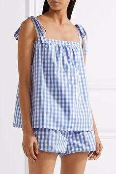 Three J NYC - Sadie gingham cotton-poplin pajama set Best Pajamas, Summer Pajamas, Silk Pajamas, Pyjamas, Sleepwear Women, Pajamas Women, Adriana Miranda, Lingerie Outfits, Lingerie Underwear