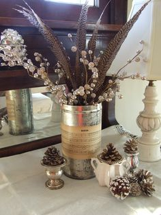 Winter home decor ~ I did almost all of my holiday decorating in silver and white to carry it through Christmas and into winter.