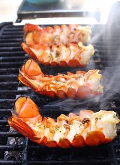 Lemon Butter Grilled Lobster Tails // This was nothing short of amazing. Who knew grilling lobster tails at home would be SO much better than getting them at a restaurant? We already bought more lobster tails to do this recipe again! Fish Recipes, Seafood Recipes, Cooking Recipes, Recipes Dinner, Barbecue Recipes, Barbecue Sauce, Cheese Recipes, Salmon Recipes, Meat Recipes
