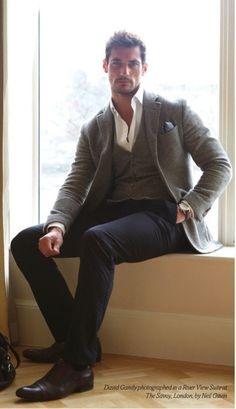 gray wool jacket. gray wool waistcoat. white oxford. navy pants. chestnut brogues. blue pocket square w/white dots. watch. elegant. dapper. boss. dinner date. style.