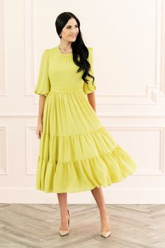 Autumn Apple Dress – Rachel Parcell, Inc. Chartreuse Dress, Yellow Dress, Apple Dress, Dress With Bow, Dress Collection, Dress Patterns, Spring Fashion, Cute Outfits, Casual Outfits