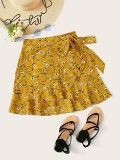 Ditsy Floral Ruffle Hem Wrap Self Tie Skirt - costura skirt street style skirt mini skirt vintage Floral Skirt Outfits, Black Floral Skirt, Floral Skirts, Girls Fashion Clothes, Fashion Outfits, Mode Pastel, Tie Skirt, Ruffle Skirt, Skirts For Kids