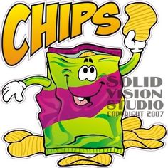 """7"""" Potato Chip Concession Trailer Food Cart Sign Decal"""