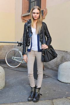 love how such a simple outfit can become edgy with a leather jacket and studed motorcycle boots