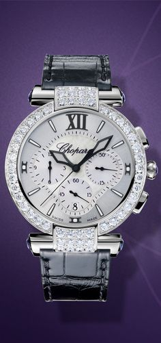 IMPERIALE Chrono 40 mm watch in 18-carat white gold and encircled by a diamond-set bezel