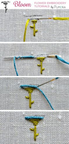 mini bullion stitch flower embroidery tutorial #embroidery #handembroidery #pumora