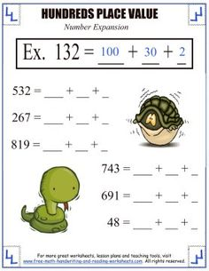 Place Value Activities - Hundreds Place Worksheets Place Value Worksheets, Place Value Activities, Reading Worksheets, Place Value With Decimals, Free Math, Place Values, Math Lessons, Maths, Learning