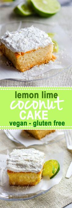 Gluten free lemon lime coconut vegan cake topped with fluffy whipped coconut cream frosting. An allergy friendly cake that's perfect for Spring/Summer. So EASY to make! All you need are a few REAL FOOD ingredients and 45 minutes to bake.