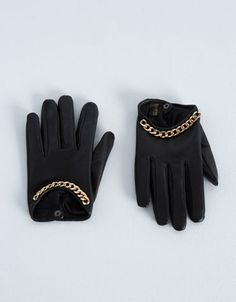 Bershka Turkey - Chain detail leather gloves