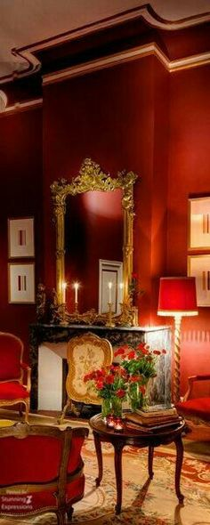 Luxury interior design for global clientele. Red Home Decor, Christmas Decorations For The Home, Luxury Interior Design, Interior Decorating, Christmas Open House, Parisian Apartment, Red Rooms, French Country House, Red Interiors