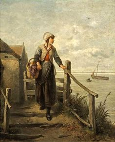A Girl Of Marken Isle-Johan Mari Henri ten Kate (1831 – 1910, Dutch)