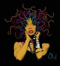 Natural hair art this would b fly on a shirt Black Girl Art, Black Women Art, African American Art, African Art, Natural Hair Art, Black Artwork, Afro Art, Dope Art, Before Us