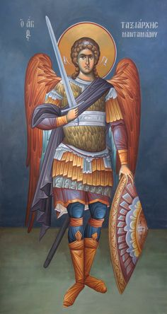 Icon of Archangel Michael the Taxiarch of Mandamados ( source ) Rejoice with us, all you commanders of the Angels, for your leader. Religious Icons, Religious Art, Religious Images, Angel Warrior, Byzantine Icons, Saint Michel, Angels Among Us, Orthodox Icons, St Michael