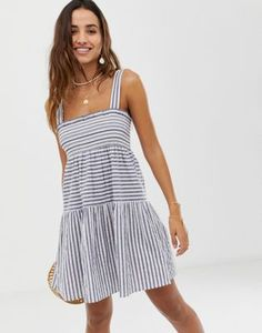 ebfb876b156 DESIGN trapeze mini cotton sundress in stripe